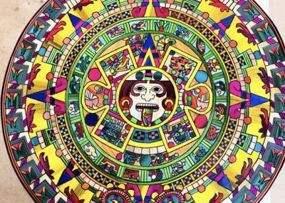 Aztec calendar on popotillo